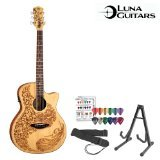 GoDpsMusic JB-HEN-P2-SPR-KIT-1 Luna Guitars Henna Paradise Acoustic-Electric Guitar Kit with Stand, Strap and Pick Sampler