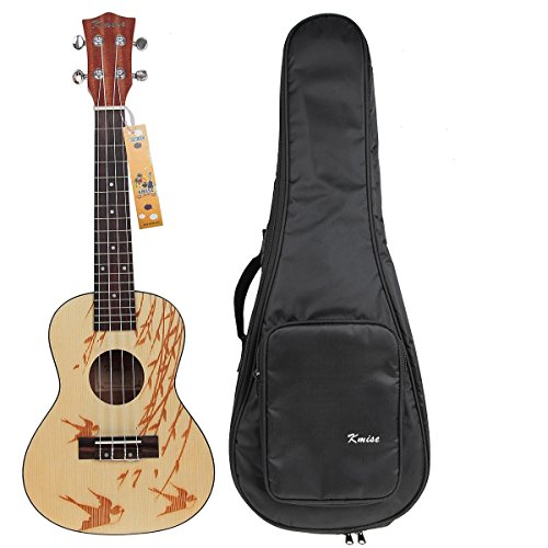 Kmise Solid Spruce Concert Ukulele Uke Hawaii Guitar Musical Instruments 23 Inch With Bag