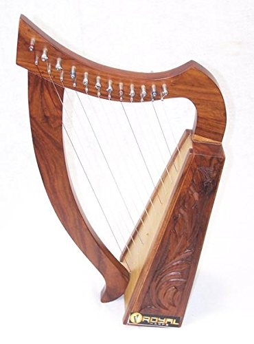 12 String Harp Celtic Design 24″ TALL Extra Strings Tuner Carrying Case New