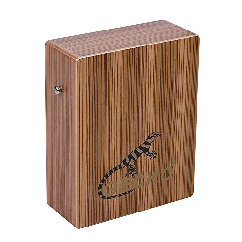 ammoon GECKO C-68Z Portable Traveling Cajon Box Drum Hand Drum Zebra Wood Persussion Instrument with Strap Carrying Bag