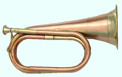 Cavalry US British Army Bugle Made Of Solid Brass and Copper Carved With Style