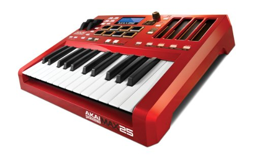 Akai Professional MAX25   25-Key USB MIDI Keyboard & Drum Pad Controller with CV/Gate Outputs (8 Pads / 4 LED Touch Faders)