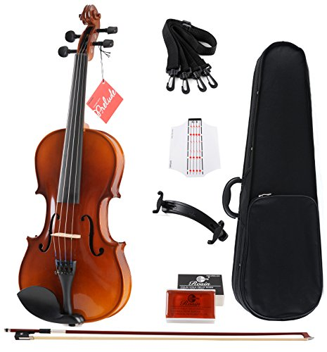 Aileen Solidwood Ebony Violin Outfit with Case, Rosin, Strings, Shoulder Rest, Fingerboard Sticker (3/4)