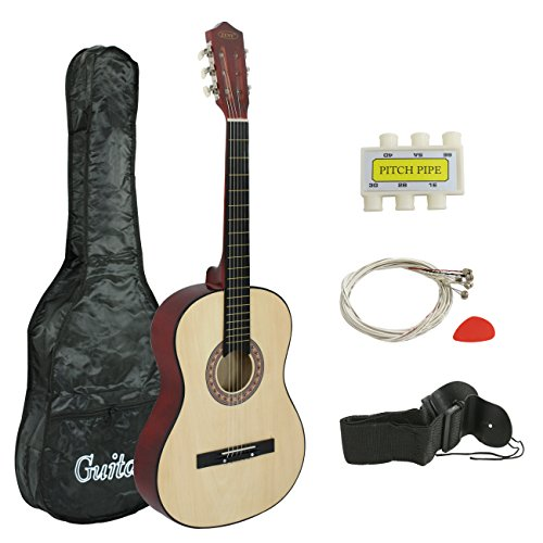 ZENY 38″ New Beginners Acoustic Guitar With Guitar Case, Strap, Tuner and Pick (Natural)