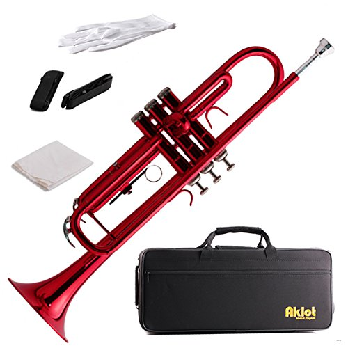 Aklot Bb Beginner Trumpet with 7C Silver Plated Mouthpiece Brass Body for Student Band (Red Lacquered)