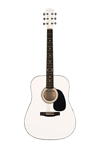 Full Size 41″ White Premium Dreadnought Steel String Acoustic Guitar & DirectlyCheap(TM) Translucent Blue Medium Guitar Pick (AC-101)