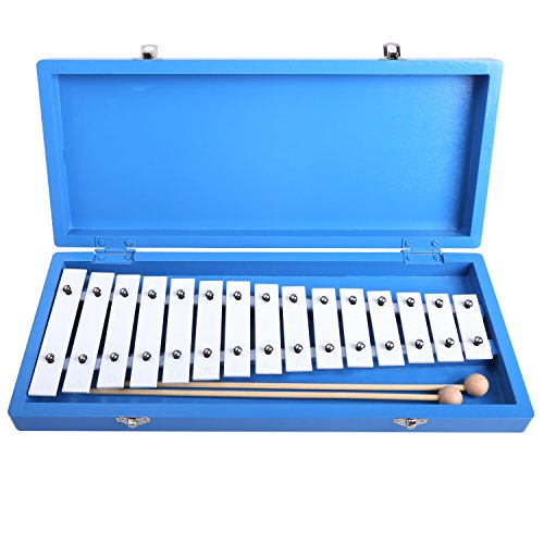 Glockenspiel Cahaya Xylophone Educational Enlighten Rhythm Music Instrument Piano 15 Tones Aluminum with Two Wooden Mallets in Blue Box for Baby Children