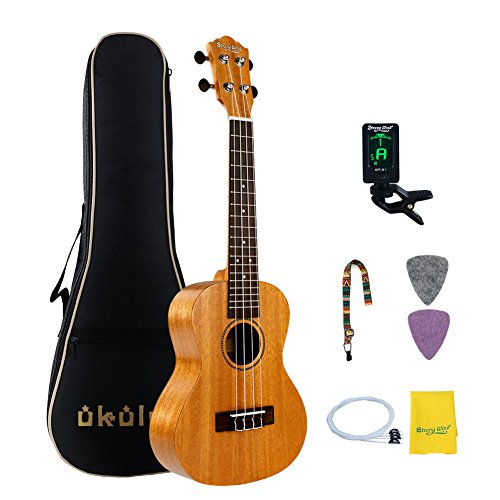 Mahogany Concert Ukulele Beginners, Strong Wind 23 Inch Concert Natural Ukulele Starter Kit with Tuner, Professional Strings, Strap, Picks and Carrying Bag for Kids Children Adults Students