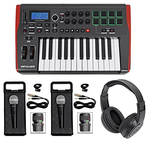 Novation IMPULSE 25 Ableton Live 25-Key USB Keyboard Controller+Headphones+Mics