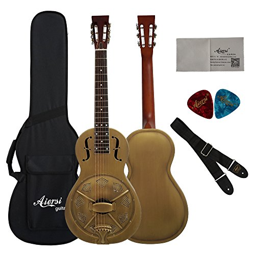 Vintage Golden Bell Finish Single Cone Brass Body Parlour Acoustic Resonator Guitar With Case,Strap and Picks