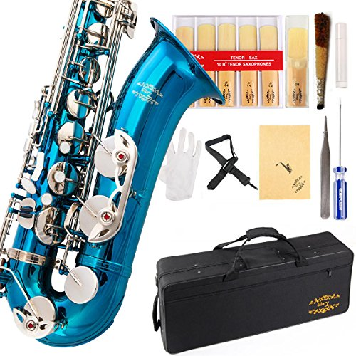 Glory Sea Blue/Laquer B Flat Tenor Saxophone with Case,10pc Reeds,Mouth Piece,Screw Driver,Nipper. A pair of gloves, Soft Cleaning Cloth.