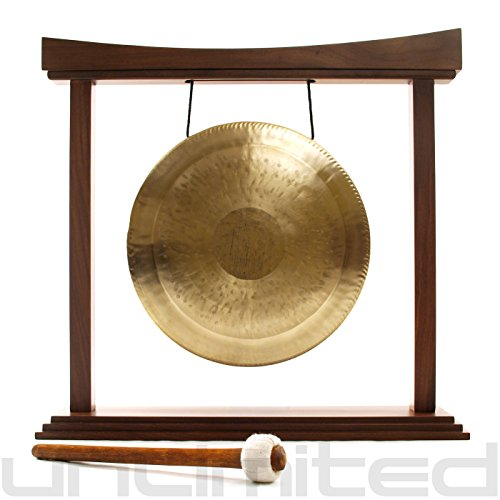 12″ White Gong on The Small Eternal Present Gong Stand
