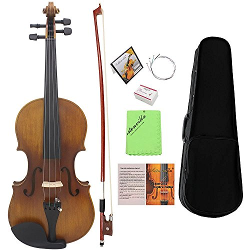 ammoon Full Size Violin Fiddle Solid Wood Matte Finish Spruce Face Board Ebony Fretboard 4-String Instrument with Hard Case Bow Rosin Clean Cloth