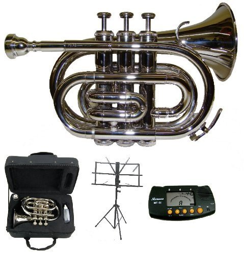 Merano B Flat Silver Pocket Trumpet with Case+Metro Tuner+Black Music Stand