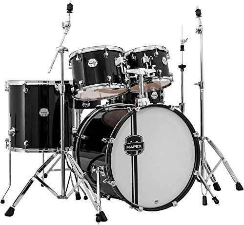 MAPEX VR5295TDKZZ Voyager Rock 5-Piece Drum Set with Cymbals, Black