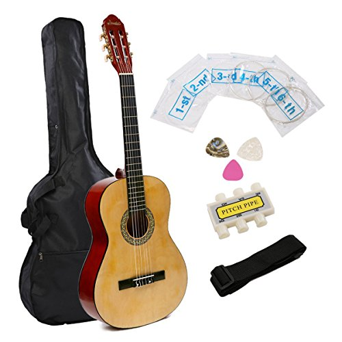 IMusic 39 Inch Full Size Classical Guitar Beginner Package,Gloss Natural