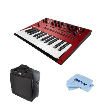 Korg Monologue 25-Key Monophonic Analog Synthesizer with 80 Presets, Red – Bundle Gator Cases Updated Padded Nylon Mixer/Equipment Bag, Microfiber Cloth