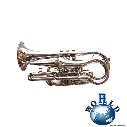TRUMPET POCKET CORNET SILVER FINISH QUALITY BB VERY RARE RE-CREATION MI 03