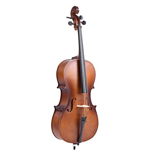ammoon I2000-2 4/4 Full Size Solid Wood Cello Matte Finish Basswood Face Board with Bow Rosin Carrying Bag for Students Music Lovers