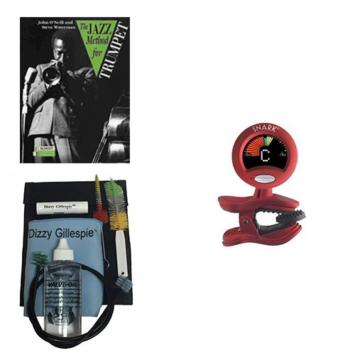 The Jazz Method for Trumpet Book w/Bonus Dizzy Gillespie Paramount Series Bugle Care & Cleaning Kit Deluxe w/Snark SN2 Tuner with Tap Tempo Metronome