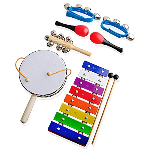 Children's Musical Instruments for Kids,Gimilife Xylophone,Rattle,Maracas,Sleigh Bell,Wrist Bells Percussion Toy Rhythm Band Set Instrument Enlighten Toy for Children Toddlers with Free Carrying Bag