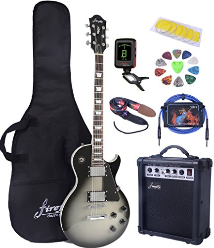 Full Size Electric Guitar with Amp, Case and Accessories Pack (Silver Burst)