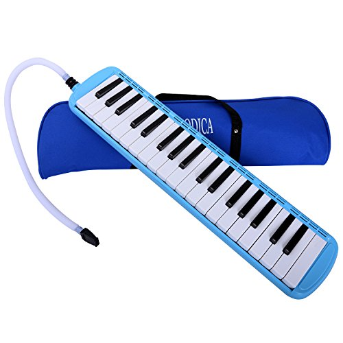 Melodica Cahaya 37 Keys Pianica with Plastic Flexible Long Pipe Short Mouthpiece and Carrying Bag for Children Student Music Lover Blue