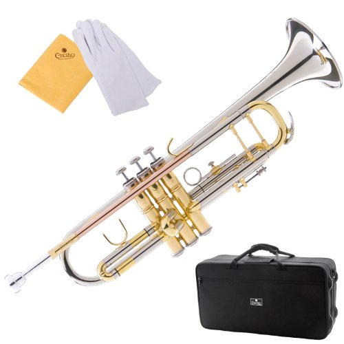 Cecilio 3Series TT-380CN Nickel Plated Intermediate Double-Braced Bb Trumpet with Monel Valves + Case, Mouthpiece and Accessories