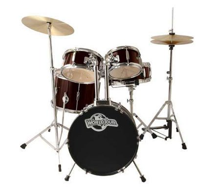 World Tour Jr Complete 5 Piece Drumset with Drum Throne and Drum Sticks – Wine Red Metallic