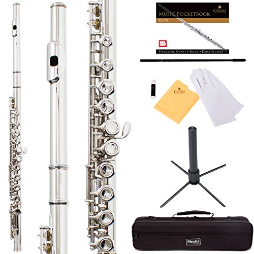 Mendini by Cecilio Premium Grade Closed Hole C Flute with Stand, Book, Deluxe Case and Warranty-Silver Nickel MFE-JN+SD+PB