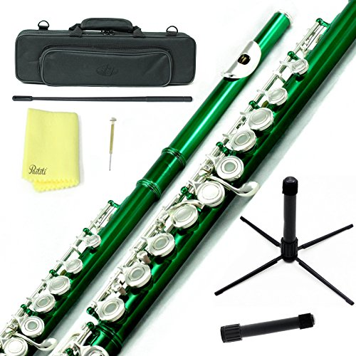 Sky C Flute with Lightweight Case, Cleaning Rod, Cloth, Joint Grease and Screw Driver –  Green/Silver Open Hole