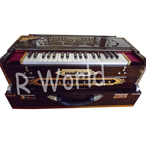 DECORATED PROFESSIONAL HARMONIUM PORTABLE WALNUT FINISH SCALE CHANGER MI 095