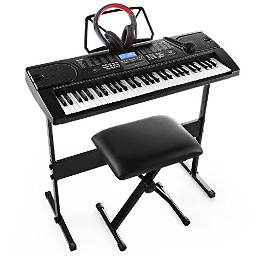 Joy 61-Key Electronic Keyboard Pack with Headphones,Microphone,Stand,Stool,and Power Supply