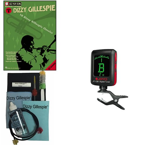 Dizzy Gillespie, Play-Along Book w/Bonus Dizzy Gillespie Paramount Series Silver Bugle Care & Cleaning Kit Deluxe w/Meisel COM-80 Clip-On Tuner