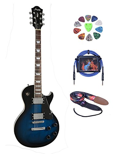 Full Size Electric Guitar (2V&2T)with Picks,Cable and Strap (Blue Burst)