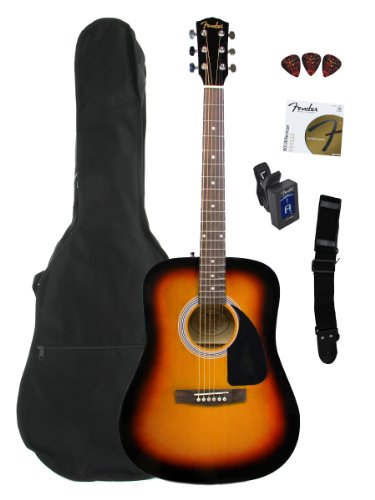 Fender FA-100 Limited Edition Dreadnought Acoustic Guitar Pack with Gig Bag, Tuner, Strings, Strap, and Picks – Sunburst