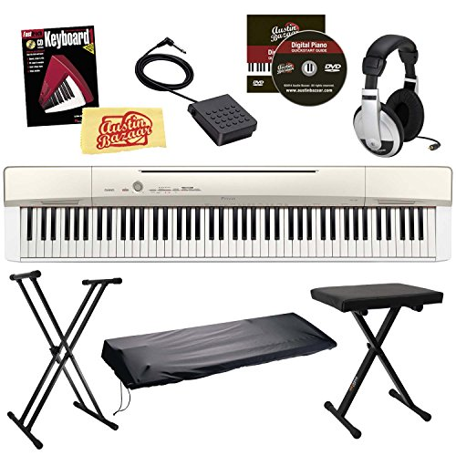 Casio Privia PX-160 Digital Piano Bundle with Stand, Bench, Dust Cover, Sustain Pedal, Headphones, Book, and Austin Bazaar Instructional DVD – Gold