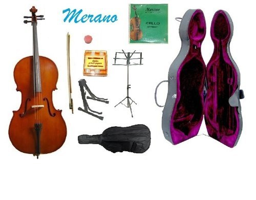 Merano 3/4 Size Cello with Hard Case, Bag and Bow+2 Sets of Strings+Pitch Pipe+Cello Stand+Black Music Stand+Rosin