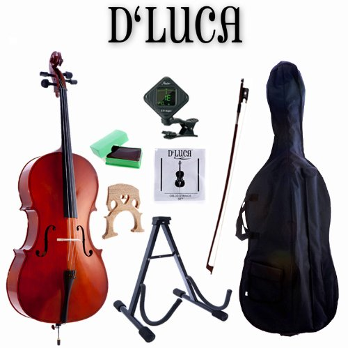 D'Luca MC100-3/4 Meister Student Cello 3/4 Package with Free Stand, Bag, Strings, Chromatic Tuner, Rosin and Bow
