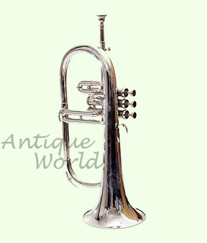Antiques World Stylish Flugel Horn, Bb Pitch With 3 Valve Made Of Nickel AWUSAMI 086