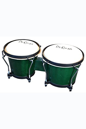 Junior Beginners Percussion Green Double 7″ & 8″ Inch Diameter Student Wooden Bongos Drums with Tuning Wrench & DirectlyCheap(TM) Translucent Blue Medium Pick