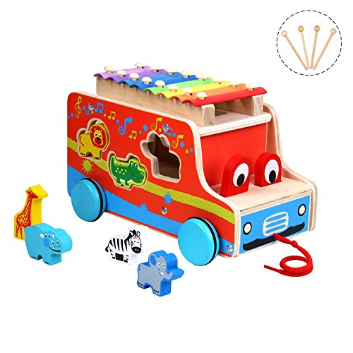 Miric Xylophone with Colorful Keys, 8 Tones for Baby Learning Music, Pull Toy for Toddlers
