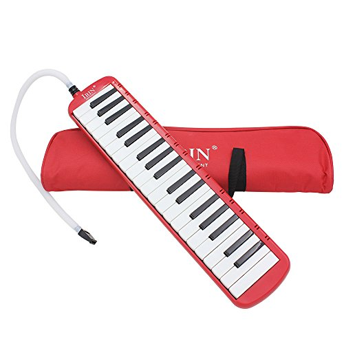 IRIN 37 Keys Melodica Musical Instrument for Music Lovers Gift with Carrying Bag (Red)