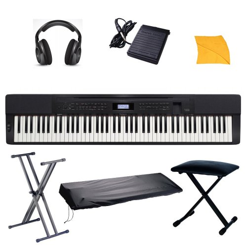 Casio PX350 Digital Piano with Free Portable Stand, Stretchy keyboard cover, Keyboard Bench, Headphones, Sustain Pedal, Polishing Cloth, & Hal Leonard Fast Track Keyboard Lesson Book