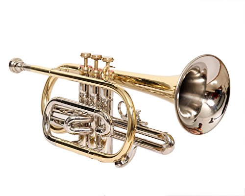 eMusicals Cornet Bb Pitch With Free Hard Case And Mouthpiece,Nickel + Brass