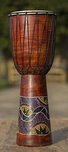 LARGE 60cm HAND PAINTED DJEMBE /DRUM,GOAT SKIN,HARD WOOD BODY