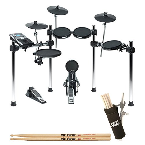 Alesis Forge 8-Piece Electronic Drum Kit with Module + On Stage Clamp-On Drum Stick Holder DA100 + Vic Firth American Classic 5A Drum Sticks – Valued Accessory Drum Kit