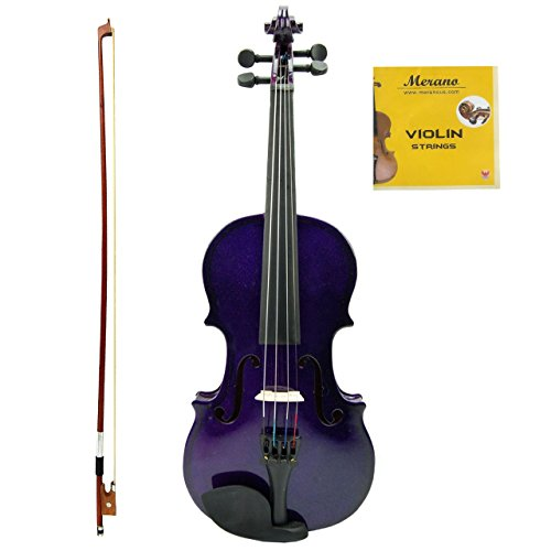 Merano MV100 Student Violin with Hard Case, Bow, Rosin and Extra Strings (1/8, Dark Violet)
