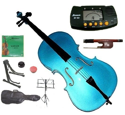 Merano 1/4 Size Blue Student Cello with Bag and Bow+2 Sets of Strings+Cello Stand+Black Music Stand+Metro Tuner+Rosin+Rubber Mute
