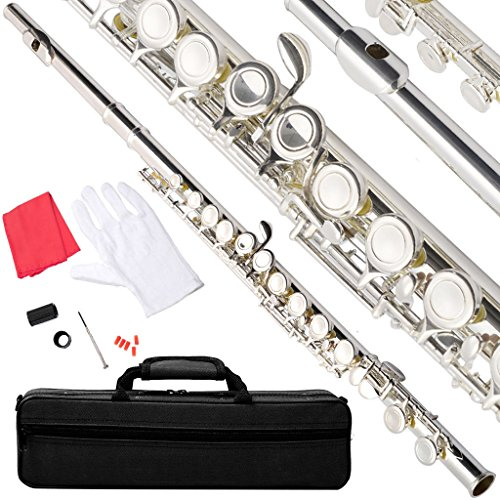 NEW MTN-G NICKEL/SILVER SCHOOL BAND STUDENT C FLUTE w/KIT CASE GLOVES